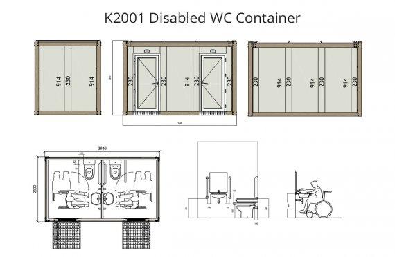 K 2001 WC κοντείνερ για άτομα με ειδικές ανάγκες