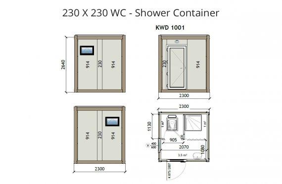 W2 230X230 Wc - Ντουζιέρα Κοντέινερ