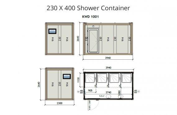 KW4 Ντουζιέρα Κοντέινερ 230X400