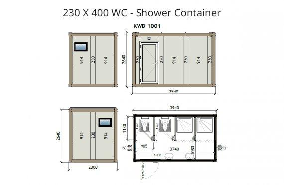 KW4 230X400 WC - Ντουζιέρα