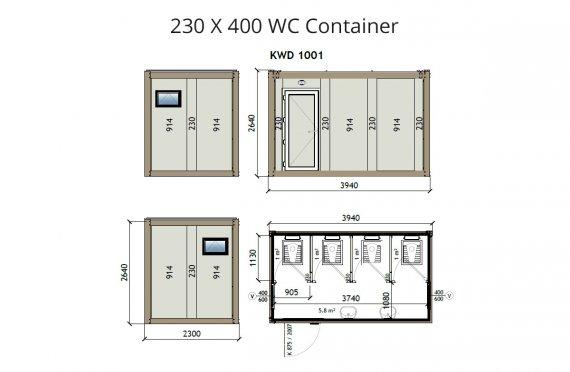 KW4 230X400 WC Κοντείνερ
