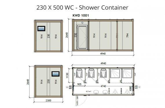 KW6 230X500 Wc - Ντουζιέρα Κοντέινερ
