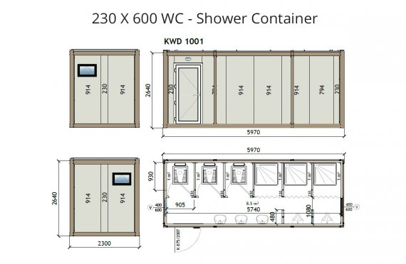 KW6 230X600 Wc - Κοτείνερ Ντουζιέρα