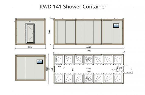 KWD 141 Κοντείνερ Ντους